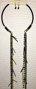 Necklace-Earring-Set-Long-Multi-color-Chains-Beads