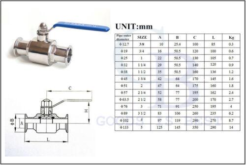 "3/"" 304 Stainless Steel Straight Clamp Sanitary valves Ball Valve Water Oil"
