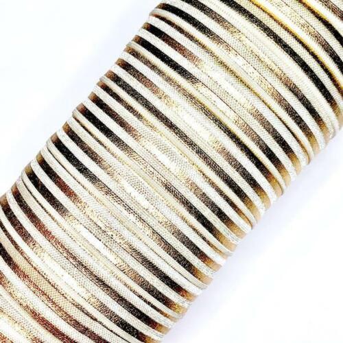 "Ivory w// metallic gold stripe print 5//8/"" fold over elastic FOE 1-10 yards"