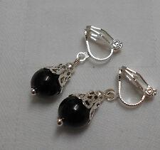 Handmade clip on earrings black onyx beads silver plated unusual