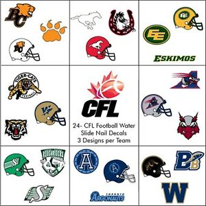 24 Water Slide Nail Decals Canadian Football League Teams All