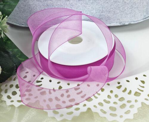 0,29€//m 4m Schleifband Organza 25mm weiss rosa pink flieder Rand  Dekoband