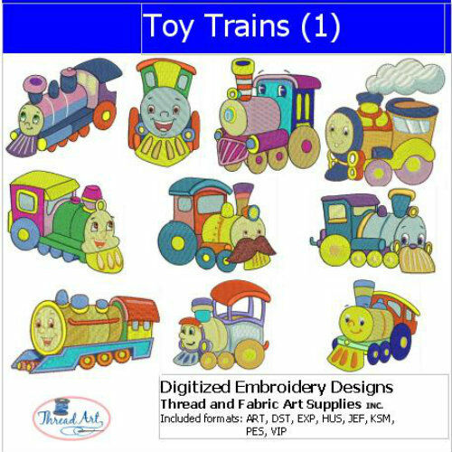 Toy Trains 1 9 Formats USB Stick Embroidery Design Set - 10 Designs
