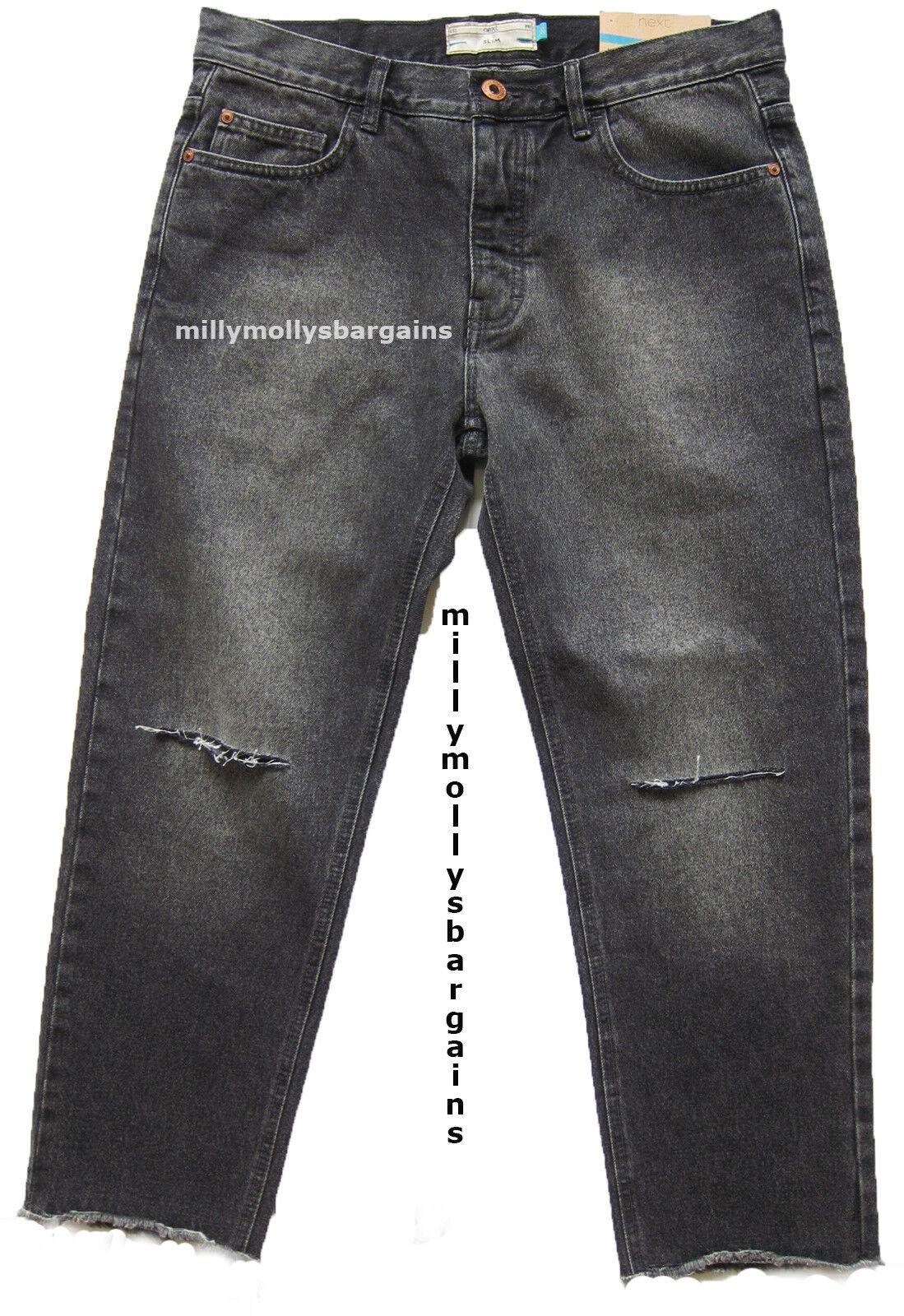 Nouveau Homme Gris Noir Foncé Noir Gris Slim Crop Next Jeans Taille 38 36 34 32 30 28 RRP £ 40 f97556