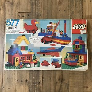 Vintage-Lego-set-577-Basic-Building-Set-1983-392-Pieces-Minifigs-Wind-Up-Motor