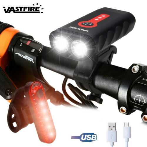 5000lm 2x XM-L2 Bike Bicycle Front Light Headlight Rear Lamp USB Rechargeable