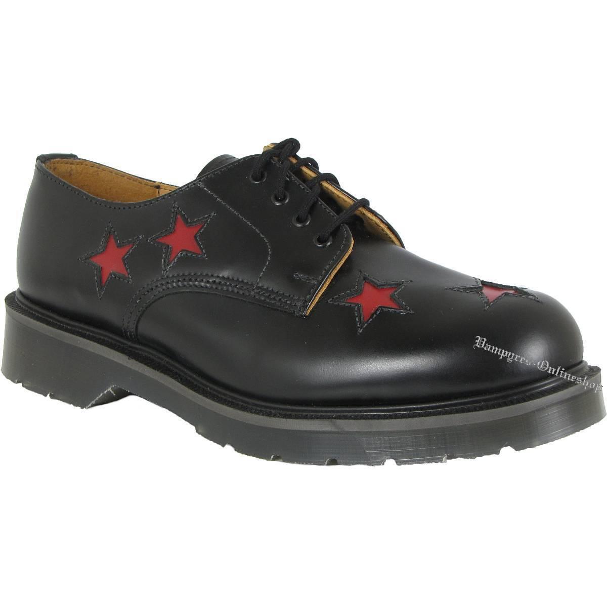 Solovair 4-Loch ROT Star 14-1 Schuhe Schwarz Rote Sterne Leder Halbschuhe Noir