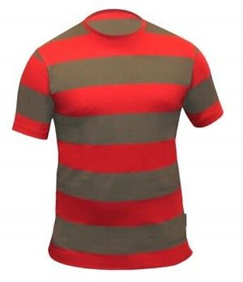 NEW MENS + LADIES FANCY DRESS FREDDY KRUEGER STYLE GREEN AND RED STRIPED T SHIRT
