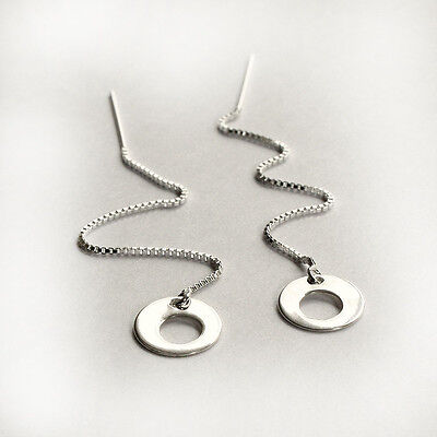 925 Sterling Silver Contemporary Pull Through Threader Earrings