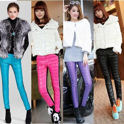 Women Thick Quilted Winter Pants Trousers Warm Leggings Boot Candy Color