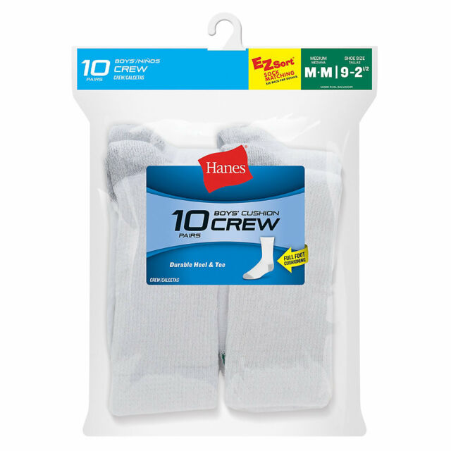20 Pack Hanes Boys Cushion Crew Socks Shoe Size 9-2.5 Medium All White