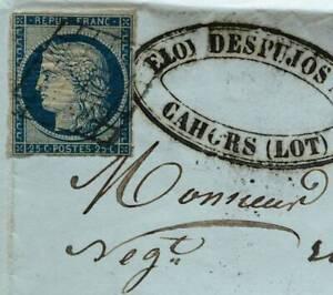 LETTRE-ANCIENNE-1851-CAHORS-DESPUJOS-OBLITERATION-GRILLE-TIMBRE-CERES-DE-PUJOS