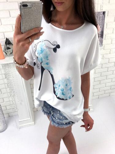 Damen Geblümt Fledermaus Locker Freizei T-Shirt Tunika Blusen Oberteil Tops Hemd