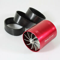 Red Turbo Supercharger Air Intake Dual Fan Propeller Gas Fuel Saver Universal