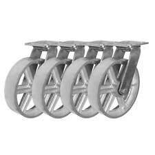 4 Pack 8 Vintage Caster Wheels Swivel Plate Grey Silver Iron Casters No Brake