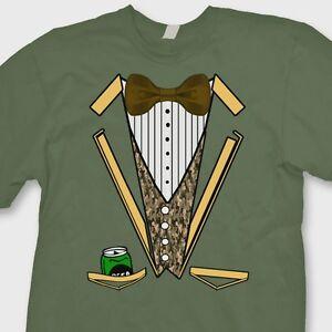 b4dc62e0 Camo Tuxedo Funny Wedding Groom T-shirt Beer Redneck Hunting Party ...
