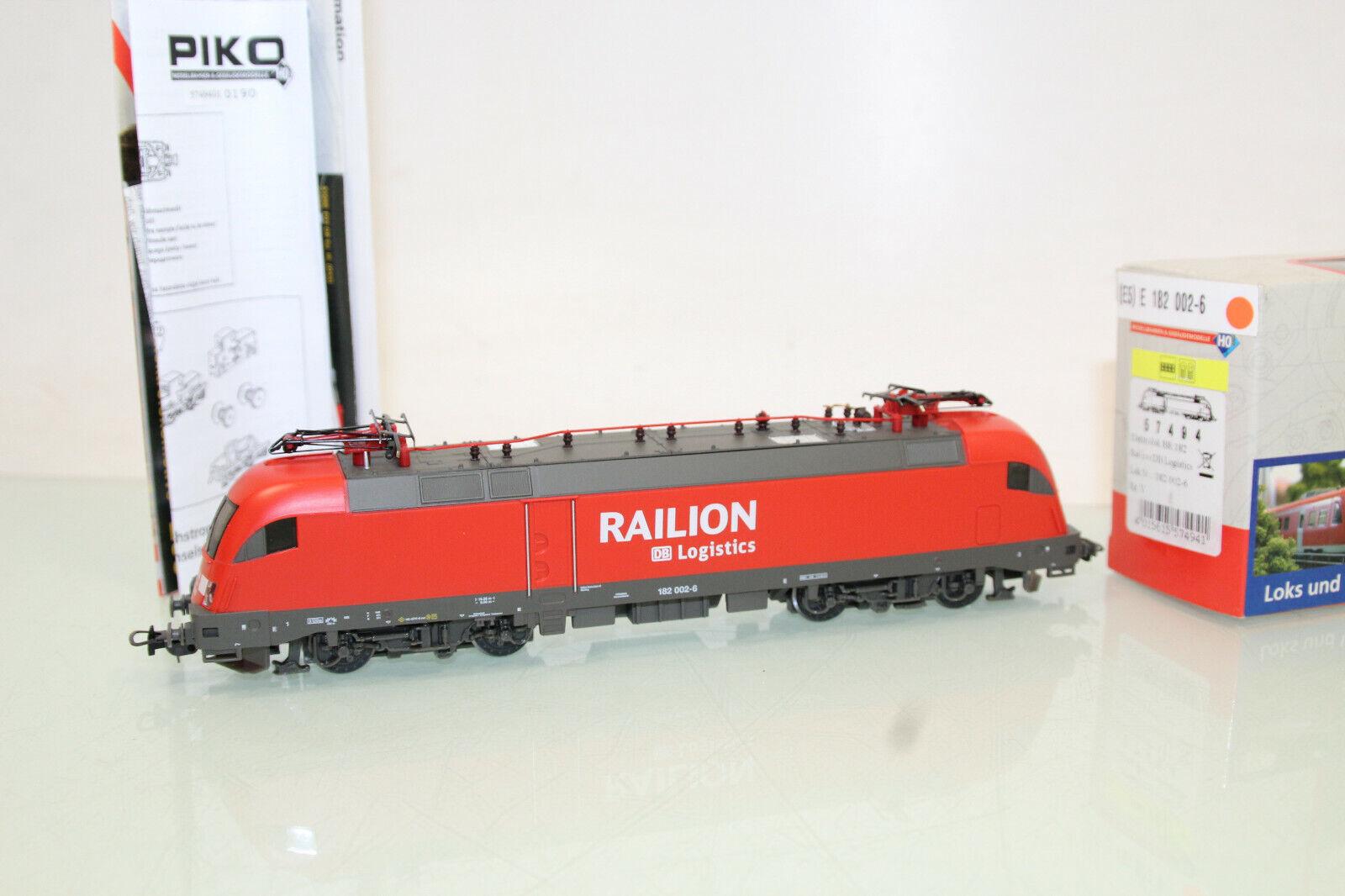 PIKO h0 57494 E-Lok BR 182 Railion Logistics DB m. DSS come nuovo in scatola originale (cl4469)
