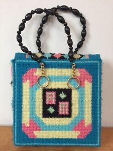 Vtg-70s-Needlepoint-Geometric-Cross-Stitch-Initials-AM-Bucket-Purse-Handbag