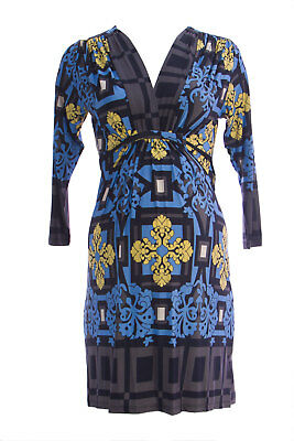 Olian Maternity Women's Blue Floral Print Plunging V Neck A-line Dress Nwt Good For Energy And The Spleen Maternity Women's Clothing