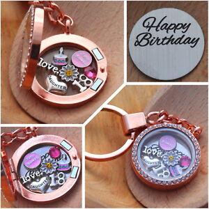 BIRTHDAY Gift Floating Memory Locket keyring ~15th 16th 18th 21st 30th 40th 50th