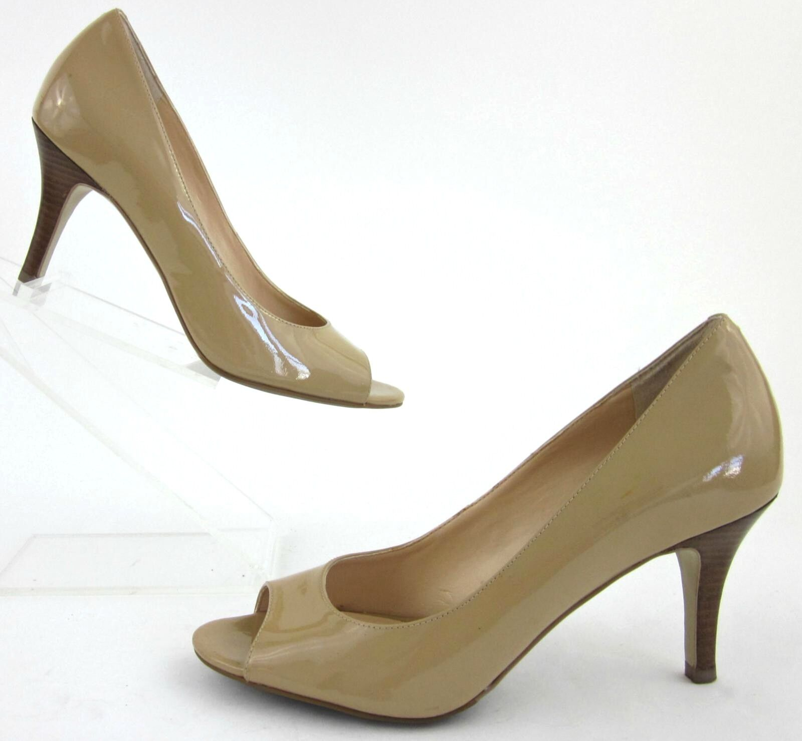 Cole Haan 'Bethany' Open Toe Pumps Sandstone Patent Leather 7B Fantastic