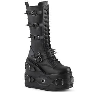 Demonia SWING-327 Women's Black Goth Cosplay Screamo Platform Mid-Calf Boots