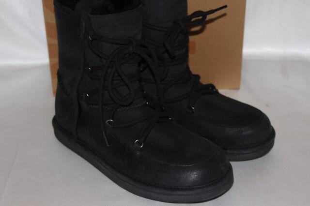54a1af79dff UGG Australia Black Leather Lodge Waterproof BOOTS Sz 10 1007710