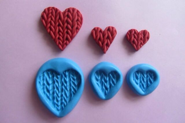 KNITTED HEARTS SET 3 Moulds Sugarcraft Cake Topper Fimo Cernit Cupcake Fimo Soap