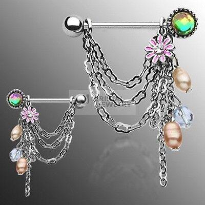Brustwarzenpiercing Barbell mit hängenden Perlen Blume und Kristall Stein