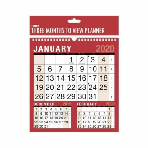 2020 Square Three Month to View Spiral Bound Planner Calendar Hang On The Wall