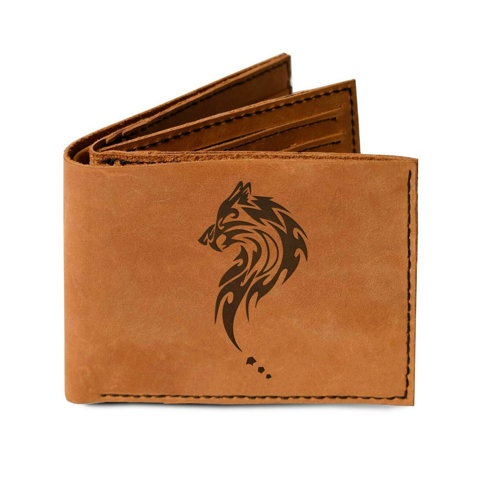 Trifold Wallet Made of 100% Genuine Leather Tribal Wolf Sabertooth MHLT_05