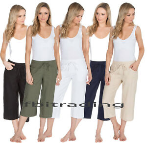 Womens cropped linen trousers 3//4 pants summer 10 12 14 16 18