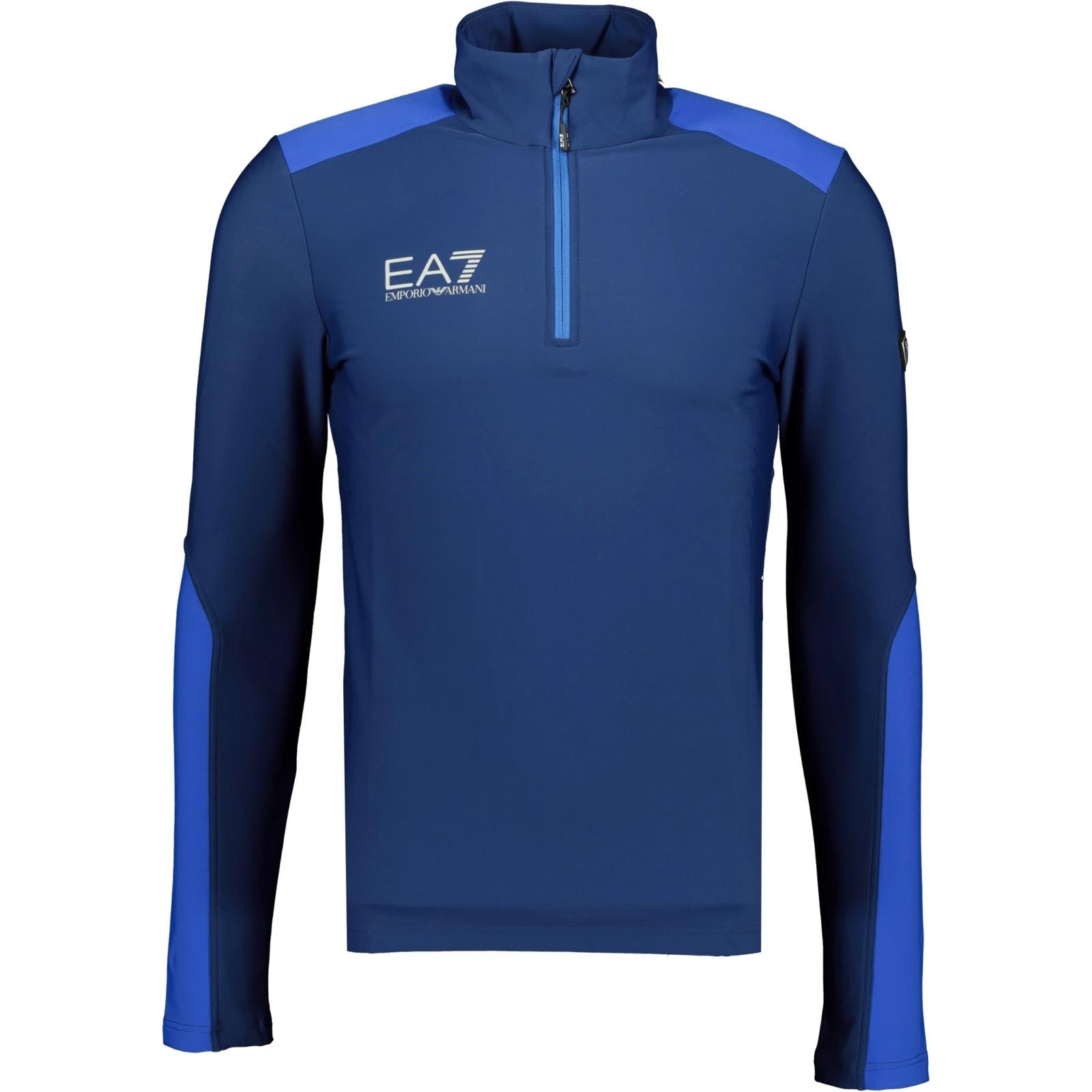 Emporio Armani Chest Logo Quarter Zip Poly Tracktop Blue