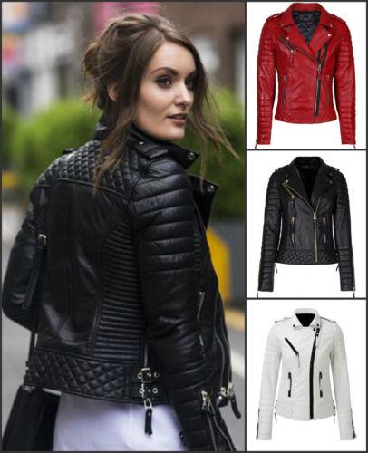 Womens Ladies Quilted Black Lamb Skin Designer Fashion Leather Jacket