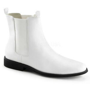 WHITE-STORMTROOPER-BOOT-STAR-WARS-COSTUME-MEN-039-S-PULL-ON-CHELSEA-ANKLE-FLAT-SHOE