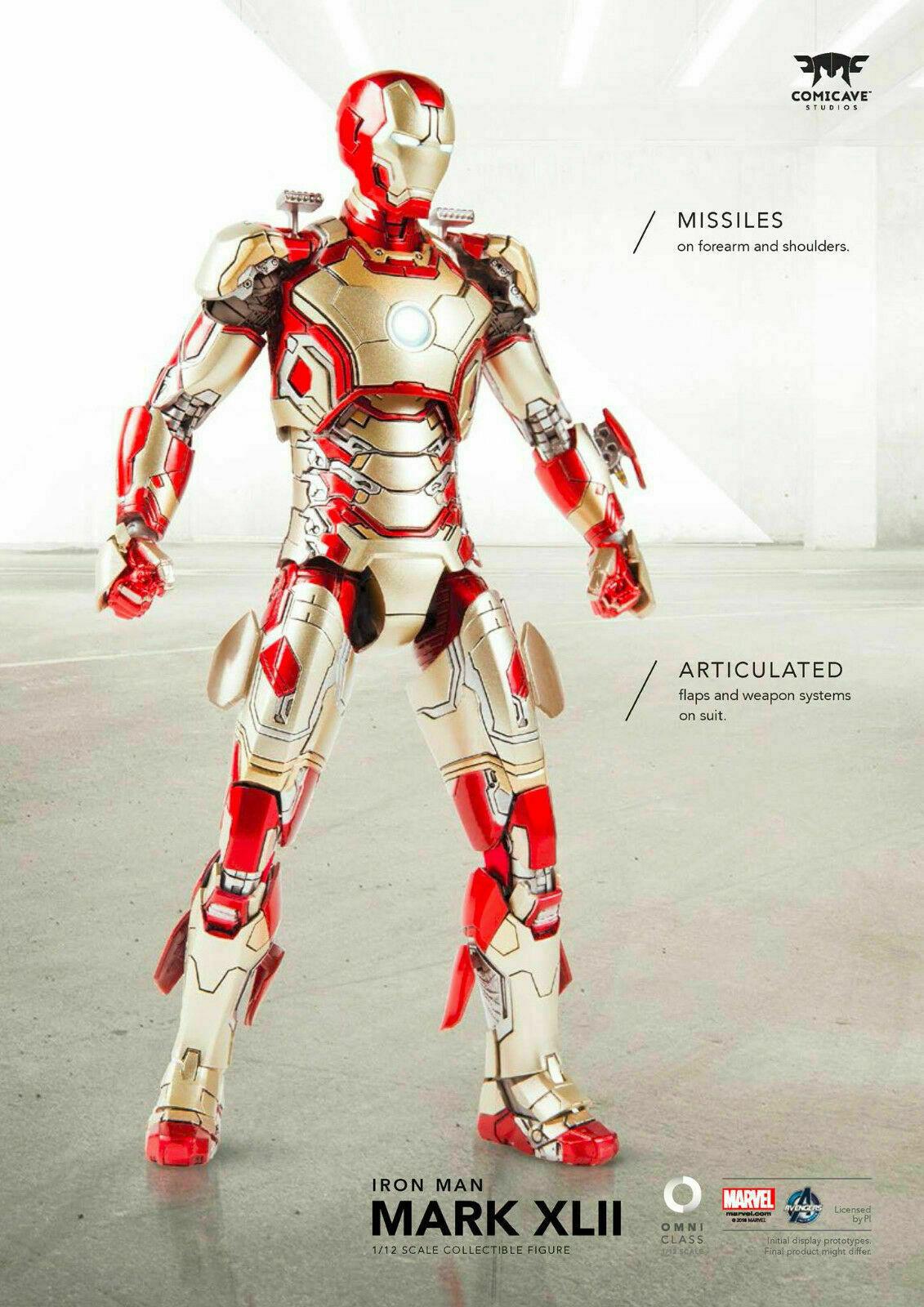 1 12 comicave Iron Man MK42 Acción Figura Model 6  Aleación Movible Juguete collectibl