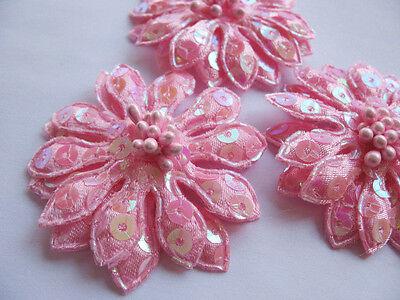 10 Big Padded Sequin Flower w/ Beads Appliques-Pink AF001