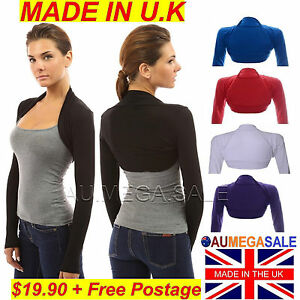 Women-Long-Sleeve-Bolero-Shrug-Cardican-Jacket-Cover-High-Quality-U-K-VISCOSE