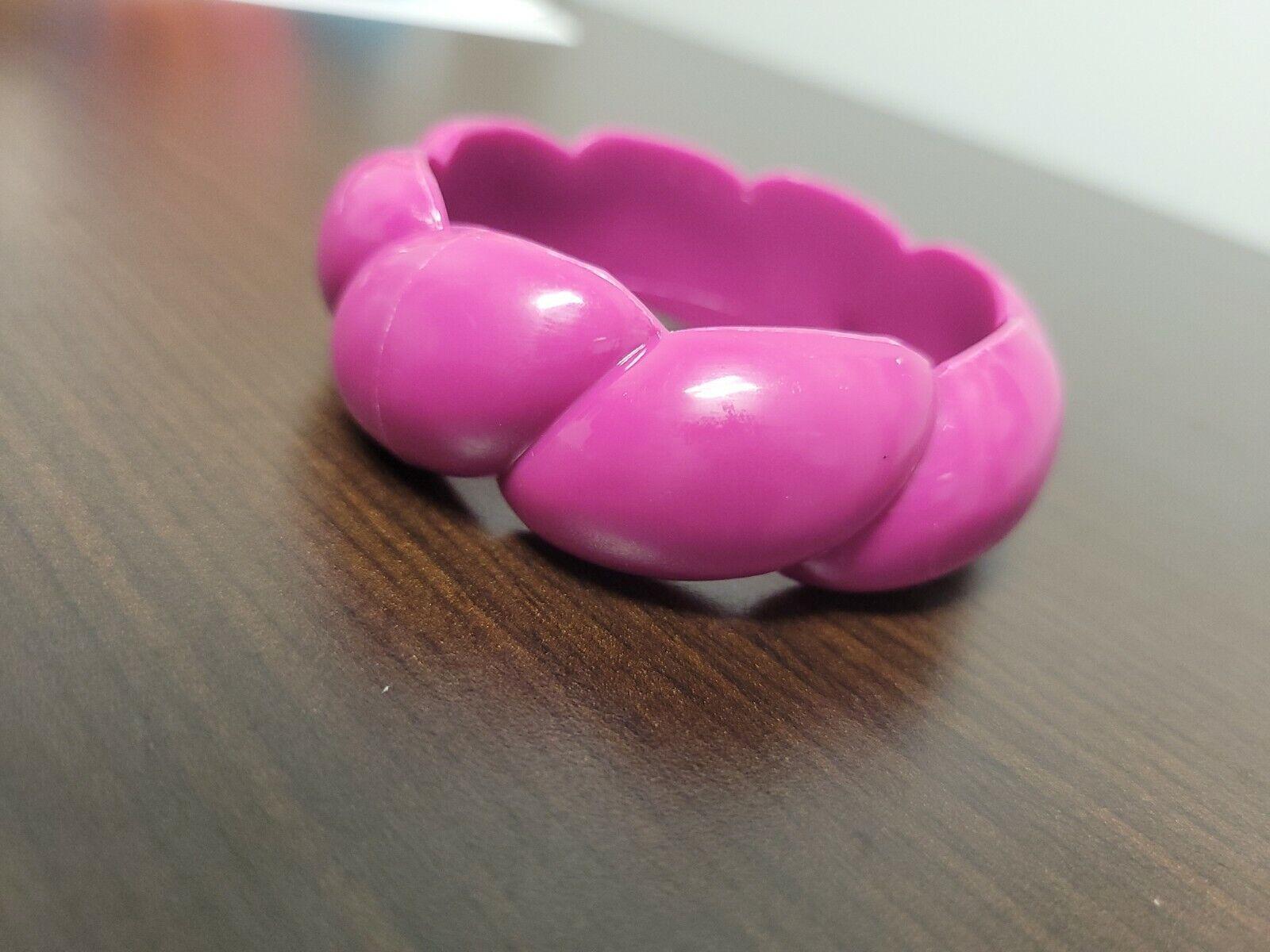 Vintage Fuchsia Chunky Wide Plastic Bangle Bracel… - image 7