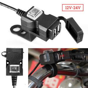 Doppio-Caricatore-Presa-USB-Moto-Manubrio-W-Switch-Supporti-Impermeabile-12-24V