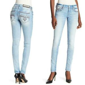 Rock Revival Womens Easy Skinny Bling Crystal Betty Jeans Size 30 31 32 34 NEW