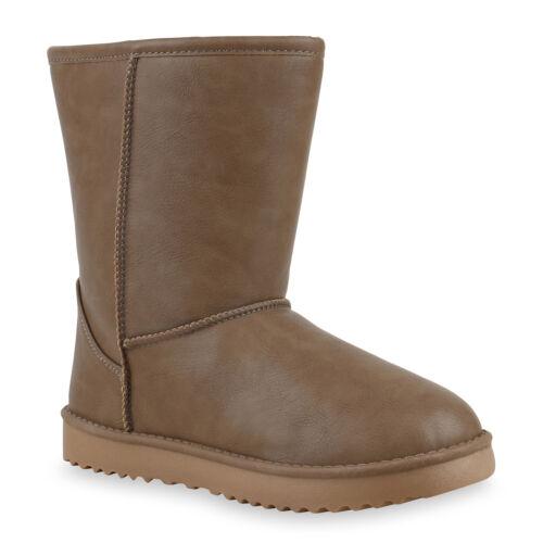 893983 Warm Gefütterte Damen Schlupfstiefel Glattlederoptik Stiefel Mode