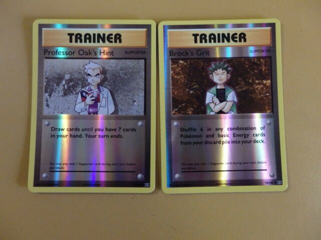 Pokemon XY Evolutions Brock's Grit 74/108 + Professor Oak's 84/108  REVERSE HOLO