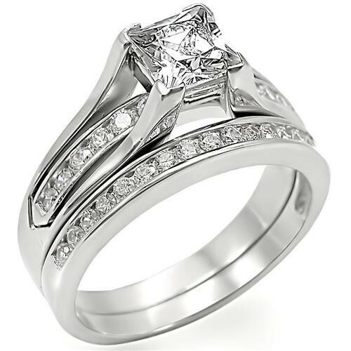 Princess Cut Stone Engagement Wedding Set Rhodium EP Ladies Ring