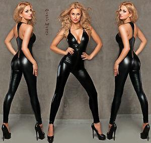 Catsuit-Overall-schwarz-Wetlook-Clubwear-Party-GOGO-Gr-S-M-36-38-Wet-Look