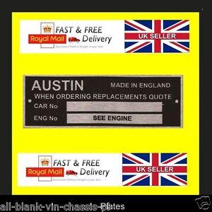Austin Morris Oxford A40 A60 Somerset Devon A35 ID todo en blanco-Vin-placas de chasis