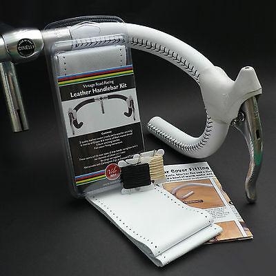Velobitz Vintage White Leather Handlebar Cover Kit, Wax Thread & Needles