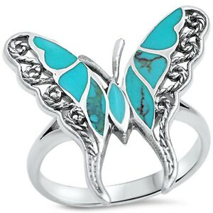 Filigree-Style-Turquoise-Butterfly-925-Sterling-Silver-Ring-Sizes-5-11