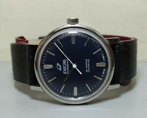 SUPERB-VINTAGE-ENICAR-WINDING-SWISS-MENS-E60-OLD-USED-WRIST-WATCH-DARK-DIAL