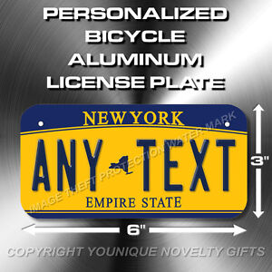 New York ANY TEXT Bicycle Toy Bike Scooter Power Wheels License Plate Tag New
